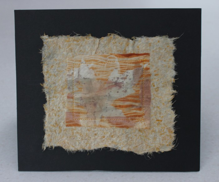 silk, eco print stitched on flax paper