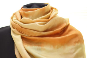 osage orange and loquat on silk by Birgit Moffatt