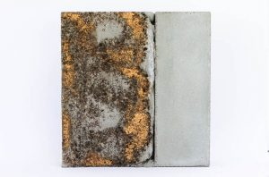 concrete, ink, gold leaf by Birgit Moffatt
